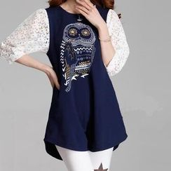 Ringnor - Lace-Sleeve Owl-Print Tunic