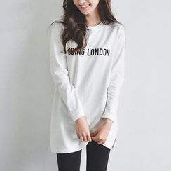 Angel Shine - Letter Long-Sleeve T-shirt