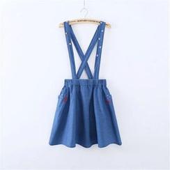 Storyteller - Embroidered Cat Denim Suspender Skirt