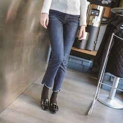 mimi&didi - Asymmetric-Hem Straight-Cut Jeans