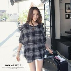 REDOPIN - Dolman-Sleeve Checked Top