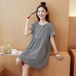 Mamaladies - 短袖格子孕婦圓領純棉連衣裙