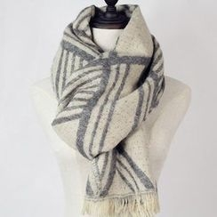 Ms Bean - Fringed Patterned Scarf