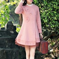 MUSI - Long-Sleeve Woolen A-line Dress