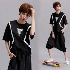 Shawale - Elbow-Sleeve Printed T-Shirt