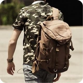 K-Style - Genuine Leather-Panel Buckled Canvas Backpack