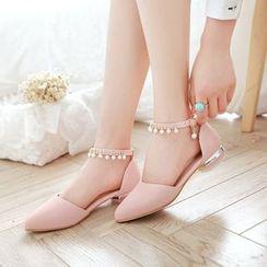 Pastel Pairs - 綴飾踝帶尖頭平跟鞋
