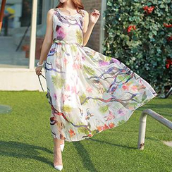Athena - Sleeveless Printed Maxi Dress