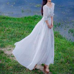MUSI - Floral Embroidered Maxi Chiffon Dress