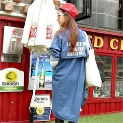 PIPPIN - Lettering-Back Denim Shirtdress
