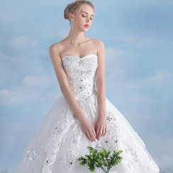 MSSBridal - Maternity Strapless Long Train Ball Gown Wedding Dress