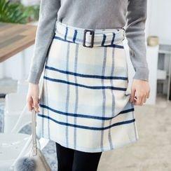 東京著衣 - 格紋A字短裙