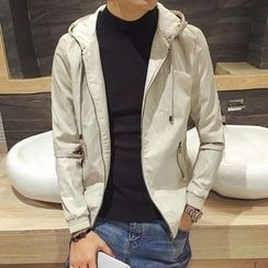 Maluda - Faux-Leather Hooded Zip Jacket