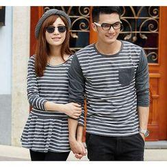 Porspor - Striped Long-Sleeve Couple Top