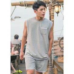GERIO - Set: Contrast-Trim Tank Top + Sweat Shorts