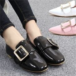 Reneve - Square-Toe Buckled Patent Loafers