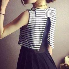 Jolly Club - Striped High-Waist Sleeveless Midi Dress