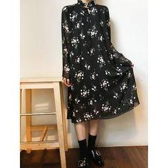 FROMBEGINNING - Tie-Neck Floral Print Dress