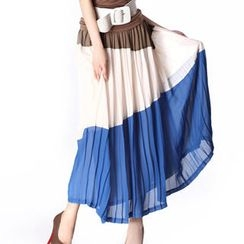 O.SA - Color-Block Pleated Long Skirt