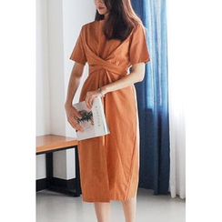 Cherryville - Short-Sleeve Tie-Waist Midi Dress