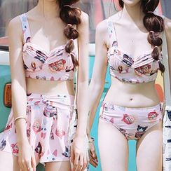 Little Dolphin - Set: Cat Print Bikini + Swim Skirt