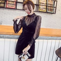Gl.bY - Set: Long Sleeve Lace Top + Spaghetti Strap Minidress