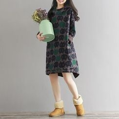Fancy Show - Fleece-Lined Cat Print Pullover Dress