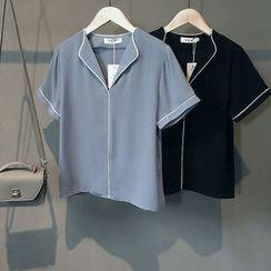 芷苁夕 - 配色边短袖V领衬衫