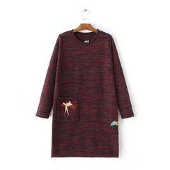 Blue Rose - Embroidered Melange Knit Dress