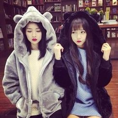 lilygirl - Bear Ear Faux Fur Hooded Coat