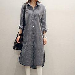NANING9 - Striped Long Shirtdress