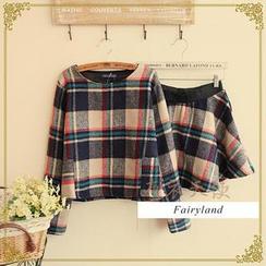 Fairyland - Set: Plaid Long-Sleeve Top + A-Line Skirt