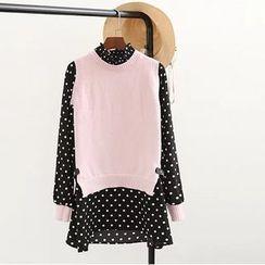 TOJI - Mock Two-Piece Dotted Dress