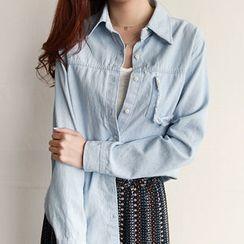 NIPONJJUYA - Distressed-Pocket Denim Shirt