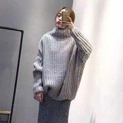 Frontline - 純色高領粗織長款毛衣