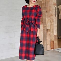 Champi - Long-Sleeve Plaid Midi Dress