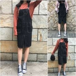 Bloombloom - Contrast Stitching Denim Pinafore Dress