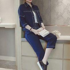 Mida - Set: Denim Jacket + Cropped Jeans