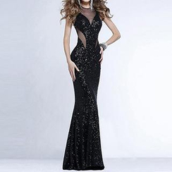 Richcoco - Sequined Sleeveless Open-Back Sheath Evening Gown