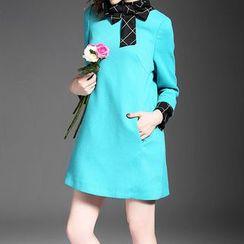 Alaroo - 长袖格子拼接连衣裙
