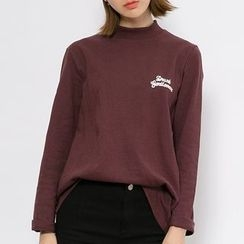 Heynew - Lettering Embroidered Mock Neck Long-Sleeve T-Shirt
