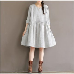 Clover Dream - Elbow-Sleeve Linen-blend Dress