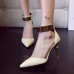 Chryse - Strapped Pointy Pumps