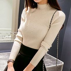 Shimi - Mock Neck Ribbed Knit Top