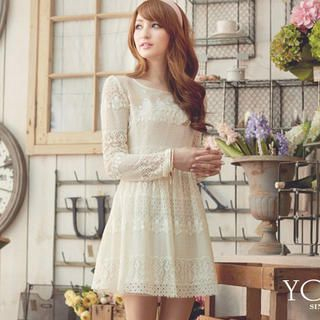 Tokyo Fashion - Beaded Gathered-Waist Lace Dress