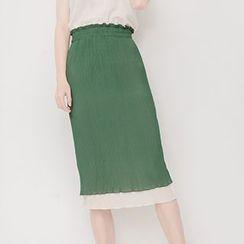 Corella - Two Tone Layered Midi Chiffon Skirt