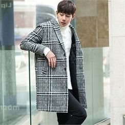 STYLEMAN - Check-Pattern Single-Breasted Coat