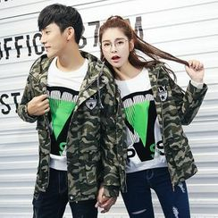 Igsoo - Couple Matching Camouflage Hooded Jacket
