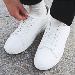 MITOSHOP - Faux-Leather Lace-Up Sneakers
