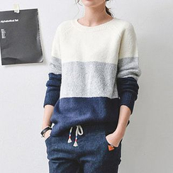 JUSTONE - Raglan-Sleeve Color-Block Knit Top